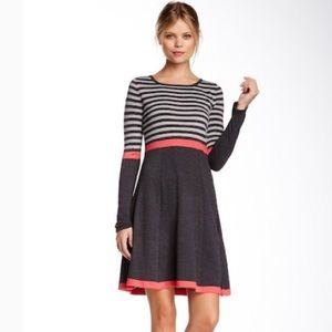 Eliza J Stripe Long Sleeve Flare Sweater Dress
